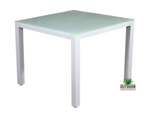 Aluminium Glass Top Table (Snow)