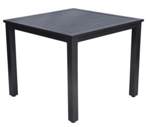 900 x 900mm Slat Dining Table Gun Metal