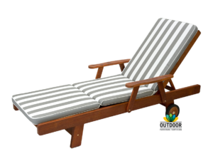 Sunlounger Cushion Grey Stripe